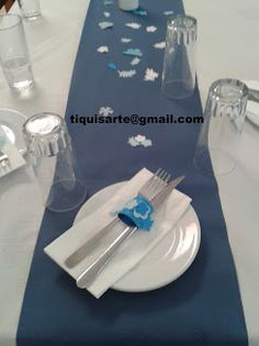 TiquisArte: Primera comunión Tableware, White People, Blue, First Holy Communion, Projects, Dinnerware, Dishes, Place Settings