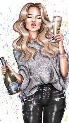 happy new year Girl Cartoon, Cartoon Art, Girl Drawing Pictures, Girly Drawings, Digital Art Girl, Fashion Wall Art, Happy Birthday Images, Girl Wallpaper, Girl Humor