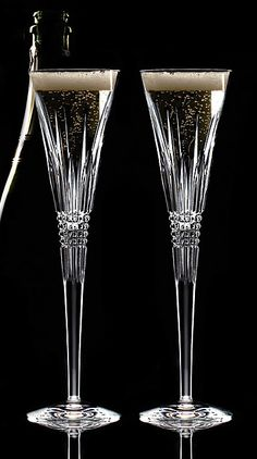 Waterford Lismore Diamond Toasting Flutes, Pair