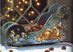 Handpainted sleigh by Peggy Harris Christmas Sled, Winter Wonderland Christmas, Vintage Christmas, Christmas Crafts, Christmas Ornaments, Xmas, Christmas Decoupage, Tole Painting Patterns, Winter Painting