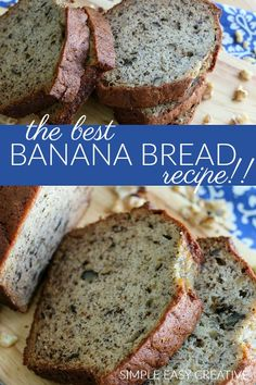 Bread :: This is the BEST Banana Bread Recipe ever! Easy to make - full o. - Muffins and Breads Recipes -Banana Bread :: This is the BEST Banana Bread Recipe ever! Easy to make - full o. - Muffins and Breads Recipes - Frozen Banana Bread Recipe, Homemade Banana Bread, Banana Bread Recipes, Fruit Recipes, Dessert Recipes, Homemade Breads, Breakfast Recipes, Recipies, Banana Walnut Bread