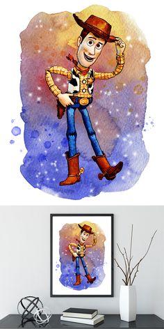 Toy Story, Woody Print, Toy Story Art, Buzz Watercolor, Baby Boy Nursery, Woody Watercolor, Artwork, Nursery Wall, Type 2, Dorm Art Toy Story Nursery, Toy Story Bedroom, Toy Story Birthday, Toy Story Party, Watercolor Disney, Watercolor Artwork, Painting Art, Disney Toys, Disney Art