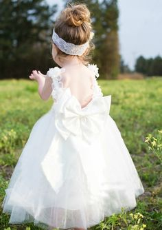 white flower girl dresses with bowknot