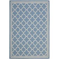 "Blue/ Beige Indoor/ Outdoor Powerloomed Rug (6'7"" x 9'6"") 