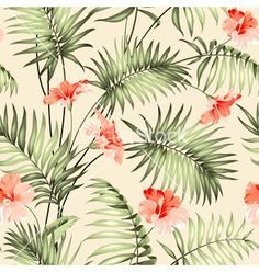 Seamless pattern of a tropical palm vector - by Kotkoa on VectorStock®