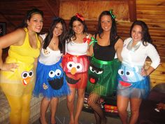 Sesame Street DIY Group Halloween Costumes :) Cute. But not sure I would want the faces in that location.