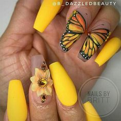 Spring butterfly wing nail art on yellow matte coffin nails springnails springnailart springnaildesigns yellownails mattenails coffinnails butterflynailart Coffin Nails Matte, Best Acrylic Nails, Acrylic Nail Designs, Nail Art Designs, Gel Nails, Manicures, Fruit Nail Designs, New Nail Art Design, Coffin Acrylics