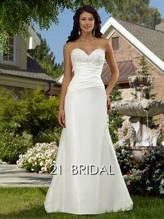 A-line Satin Sleeveless Sweetheart Sweep/Brush Train wedding dress E14289 - 21bridal