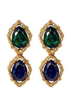 Oscar de la Renta's ocean jewel tone earrings, perfect for Spring http://www.renttherunway.com/spring2013lookbook-8 #GreatLengths #SpringAwakening