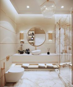 Gorgeous Luxury Bathroom Design Ideas You Definitely Like - Have you long dreamed of having a luxurious bathroom that would be the envy of all who saw it? If so, there are a few key features you might want to c. Interior Modern, Interior Design Minimalist, Luxury Interior Design, Modern House Design, Home Design, Luxury Decor, Marble Interior, Gold Interior, Interior Design Inspiration