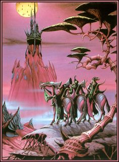 Artwork: elric by fantasy artist Rodney Matthews. See more artwork by this featured artist on the fantasy gallery website. Dcc Rpg, Art Science Fiction, 70s Sci Fi Art, Futuristic Art, Fantasy Illustration, Fantasy Inspiration, Fantasy Landscape, Retro Futurism, Fantastic Art
