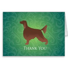Irish Setter Thank You Silhouette on green Greeting Card