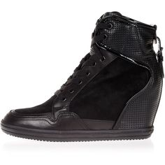 Hogan REBEL leather high sneakers with Wedge ($225) ❤ liked on Polyvore featuring shoes, sneakers, black, black wedge heel sneakers, leather shoes, black trainers, black wedge shoes and leather wedge sneakers