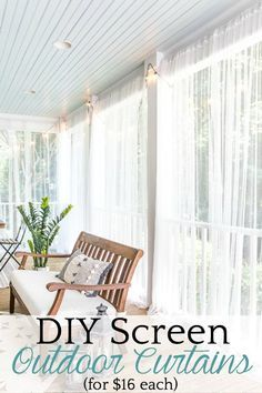 How to protect your porch from bugs using this quick and cheap solution for DIY outdoor curtains. How to protect your porch from bugs using this quick and cheap solution for DIY outdoor curtains. Furniture, Outdoor Decor, Easy Home Decor, Outdoor Curtains, Decorating On A Budget, Cheap Home Decor, Home Decor, Curtains, Interior Design