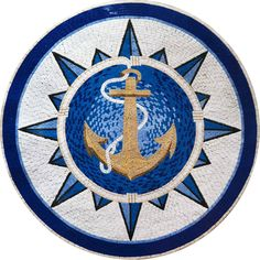 Nautical Anchor Mosaic Art Pattern Medallion for Pools, Entrances, Bath, etc..  MM324 by Mozaico on Etsy https://www.etsy.com/listing/241659102/nautical-anchor-mosaic-art-pattern