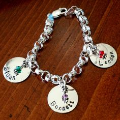 This sterling silver thick rolo bracelet is available in 7″, 8″ or 9″ and includes three 3/4″classic circlename charms. Click on the underlined link toCircle Charmfor additional Name Charms.