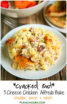 """""""Cracked Out"""" Three Cheese Chicken Alfredo Bake Recipe - chicken, cheddar… Baked Chicken Recipes, Pasta Recipes, Cooking Recipes, Healthy Recipes, Recipe Chicken, Duck Recipes, Chicken Meals, Pasta Dishes, Food Dishes"""