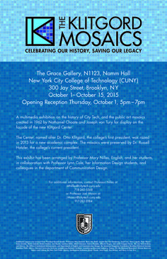 """The Klitgord Mosaics: Celebrating our History, Saving our Legacy,"""" in the Grace Gallery, 1123 Namm Hall, October 1-15, 2015. And attend the Opening Reception: 5:00 pm – 7:00 pm, on Thursday, October 1st. See attached for details."""