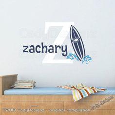 Initial and Name Beach Wall Decal - Surfboard Decals - Hawaiian Surf Beach Nursery Decor Vinyl Wall Decals - Surf Nursery, Nursery Decor, Surf Bedroom, Wall Decor, Beach Wall Decals, Vinyl Wall Decals, Trendy Baby Girl Names, Baby Names, Deco Surf