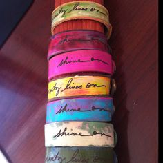 Artist's Script Petite Cuffs... $35 each.  Click here to buy now or contact us for your custom piece.  Info@Leather-Couture.com
