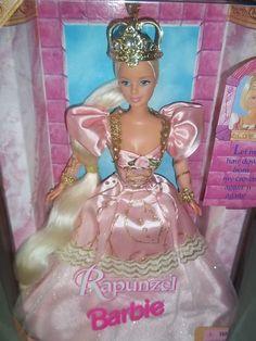 1997 Mattel Fairy Tale Rapunzel Barbie W/ Growing Hair Crown Pink Gown 17646 N/B