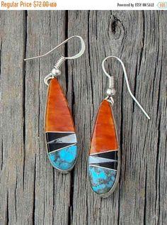 Spiny Oyster Onyx Multi Inlay Navajo Earrings, Inlay Navajo Earrings, Oyster Onyx Earrings, Handcrafted Earrings, Sterling Silver Earrings