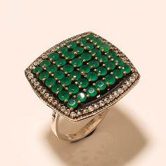 925 Sterling Silver Pave Setting Turkish Jewelry Zambian Emerald Valentine Ring #Handmade #PaveSetting #ValentinesDay