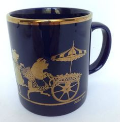 Coloroll Pigs Mug Parading Dancing on Blue & Gold Made In England Coffee McMess #Coloroll #CoffeeMugorTeaCup