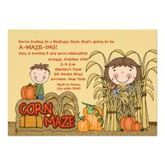 Shop Corn Maze Party (Girl) Invitation created by CottonLamb. Birthday Themes For Boys, Boy Birthday Parties, Birthday Ideas, Fall Birthday, 9th Birthday, Kids Birthday Party Invitations, Corn Maze, Personalized Note Cards, Fun