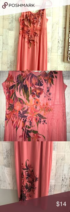 Maxi Dress Coral with multicolored floral, v-neck, sleeveless, NWOT 0X American Rag Dresses Maxi