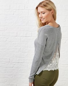 #ARKLOVES lace back knits + the Hearts and Bows Peridot Lace Back Knit #greymarl #knit #aw15