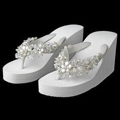 54960030308c4 White Crystal   Freshwater Pearl Wedge Beach Wedding Bridal Flip Flop  Sandals Wedding Wedges