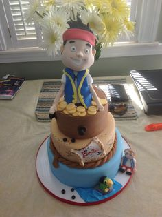Jake and the Neverland Pirates cake with edible topper, by Amy Hart