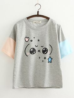 46d52d4fb7 Cute Patchwork Color Sleeves T-shirts for Women Nadmerná Móda