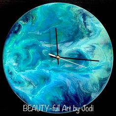"6 Likes, 2 Comments - BEAUTY-full Art by Jodi (@beautyfullartcanberra) on Instagram: ""Unique and one of a kind, this (30cm) wooden clock has been hand poured in glossy blue and green…"""