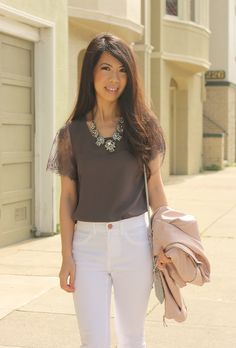 McQue Lace Blouse with white jeans and a pastel jacket make for a great spring outfit!