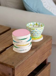 A swipe of pastel paint creates a color-blocking effect that's a sweet surprise juxtaposed against the rustic birch.