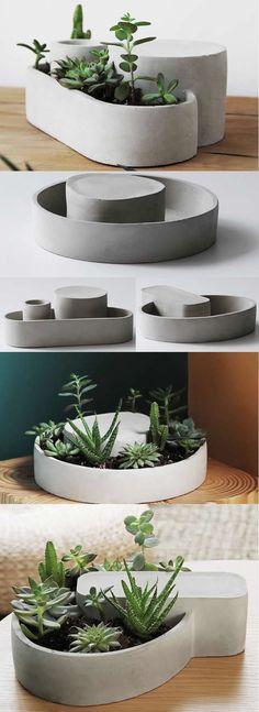 Concrete Modern Geometric Succulent Planter Flower Pot Pen Pencil Holder Office Desk Stationery Organizer