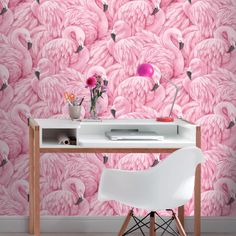 A striking flamingo wallpaper design from Rasch to update any girl's bedroom. Rasch wallpaper is available at Go Wallpaper UK. Wallpaper Store, Wallpaper For Sale, Funky Wallpaper, Wallpaper Uk, Paper Wallpaper, Geometric Wallpaper, Textured Wallpaper, Designer Wallpaper, Pink Office Wallpaper