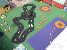 This bright nursery flooring we installed is sure to be a lot of fun! The design helps to encourage numerical skills, balance and road safety!
