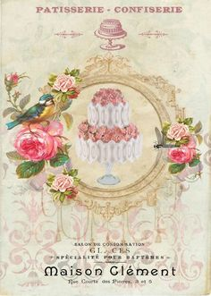 French ad with pink roses and blue bird.