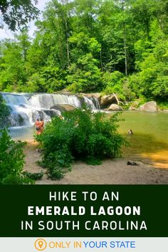 Take an easy hike to a beautiful emerald lagoon in South Carolina! The perfect summer trail, you'll enjoy a natural waterfall swimming hole. The trail is family and leashed dog-friendly. The beach next to the falls is great for a picnic! Natural Waterfalls, Usa Trip, Hidden Beach, Summer Travel, Travel Around, Travel Usa, South Carolina, Trip Planning, Travel Ideas