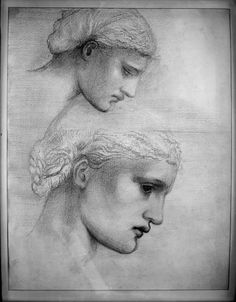 Edward Burne-Jones, Two Heads in Profile, c. 1865 Drawing,19th century,  Red chalk and graphite on cream paper actual: 44.6 x 36 cm (17 9/16 x 14 3/16 in.)