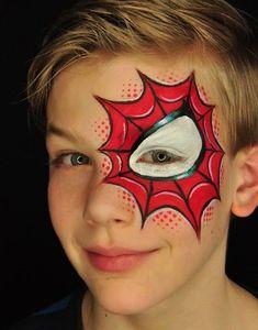 kinderschminken jungen motive spinne rot  #makeup  #fasching