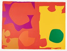 Patrick Heron CBE 1920 – 1999 Six in Vermilion with Green in Yellow, 1970 signed in pencil, dated, inscribed Artist's Proof silkscreen print in colours on wove paper, with full margins image: x 78 cm x 30 in. Abstract Painters, Abstract Art, Patrick Heron, Linear Art, Sign Printing, Tag Art, Figure Painting, Abstract Expressionism, Yorkie