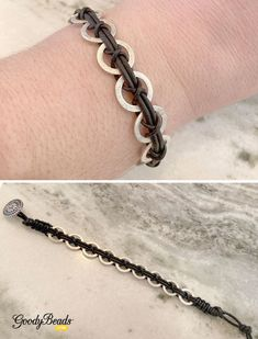 Easy jewelry tutorial using and leather cord to braid and make a criss cross design with flat ring links. Leather Bracelet Tutorial, Leather Cord Bracelets, Bracelets For Men, Diy Bracelets To Sell, Diy Leather And Bead Bracelet, Leather Jewelry Tutorials, Homemade Bracelets, Diy Jewelry To Sell, Diy Jewelry Inspiration
