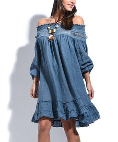 Loving this Blue Off-Shoulder Linen Swing Dress on #zulily! #zulilyfinds