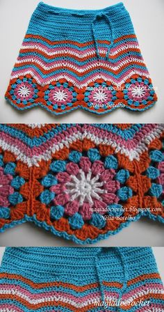 Crochet skirt with chevron pattern and granny hexagons attached at the bottom.