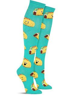 On these funny and bright taco knee high socks, the delicious culinary creations have big smiles on their tortilla faces!