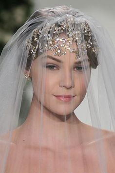 Wedding headpiece by Paris by Debra Moreland, as seen at the Anne Barge runway show.